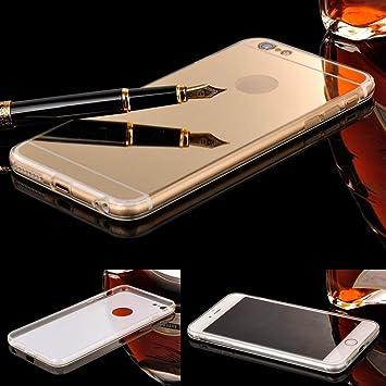 Donkeyphone - Funda Gel con Efecto Espejo Dorado Carcasa Silicona Transparente para iPhone 7 - Color Oro