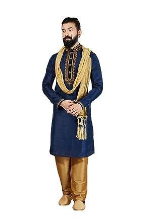 0aab0f8b07 Amazon.com: Kurta Pajama for Men Indian Designer Wedding Partywear Royal  Outfit Traditional Ethnic India Dress: Clothing