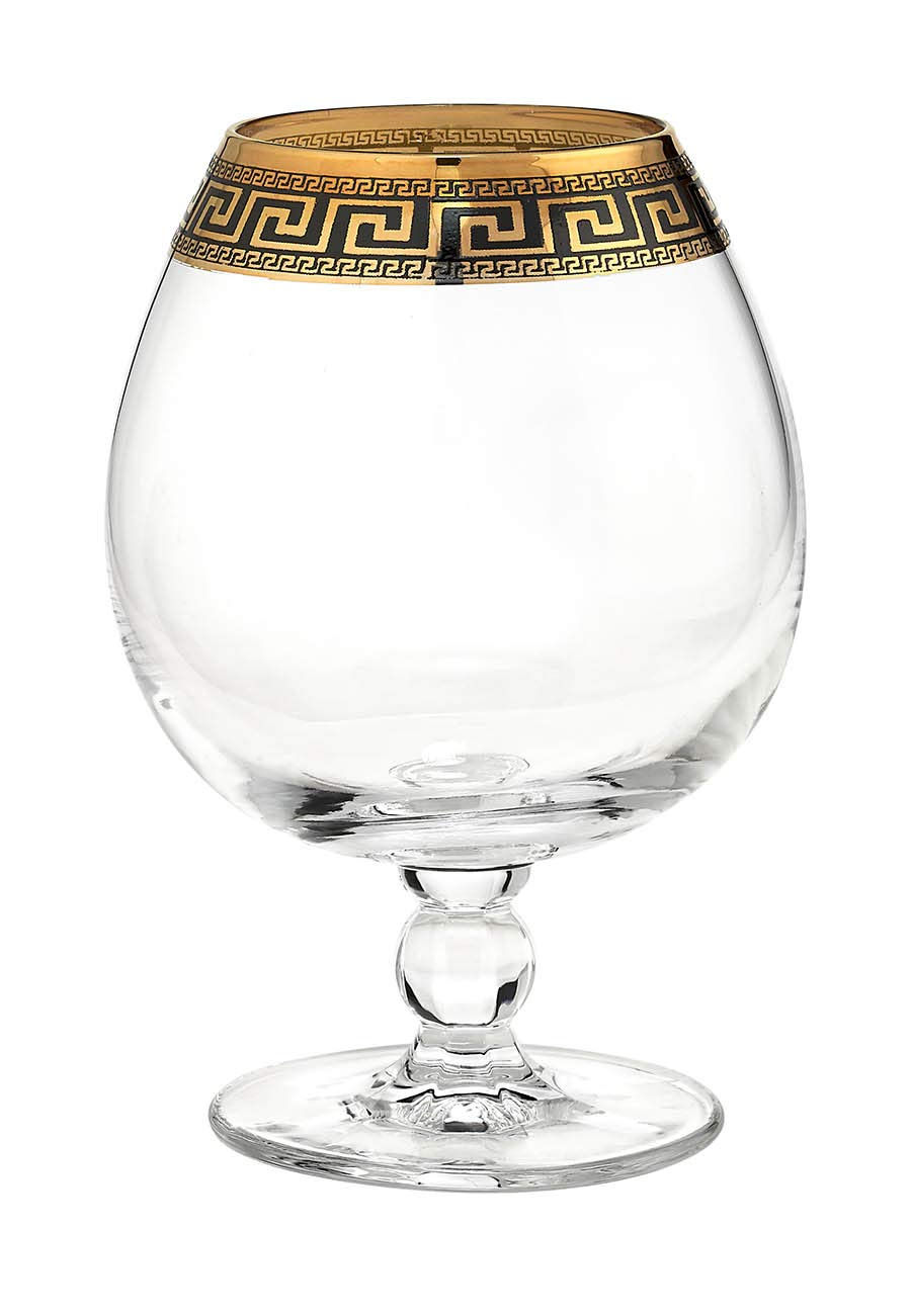 ''Cristalleria Italian Decor'' Crystal Cognac Brandy Snifter Goblet, 17 oz. Gold and Black Greek Key Ornament, Hand Made in Italy, SET OF 6 Glasses by Cristalleria Italian Decor (Image #2)