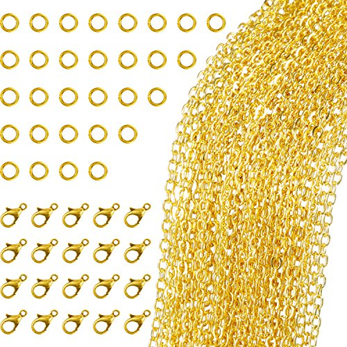 - TecUnite 33 Feet Gold Plated Link Chain Necklace with 30 Jump Rings and 20 Lobster Clasps for Jewelry DIY Making (1.5 mm)