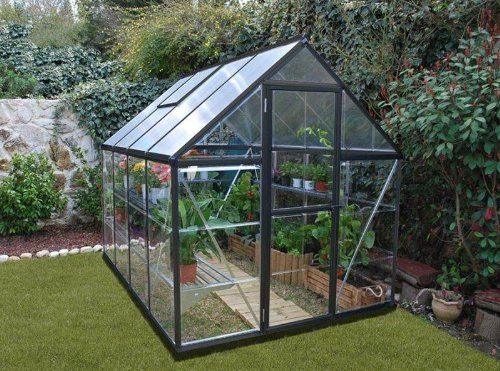 Palram Hybrid Greenhouse, 6′ wide x 10′ long, limited edition with dark grey frame