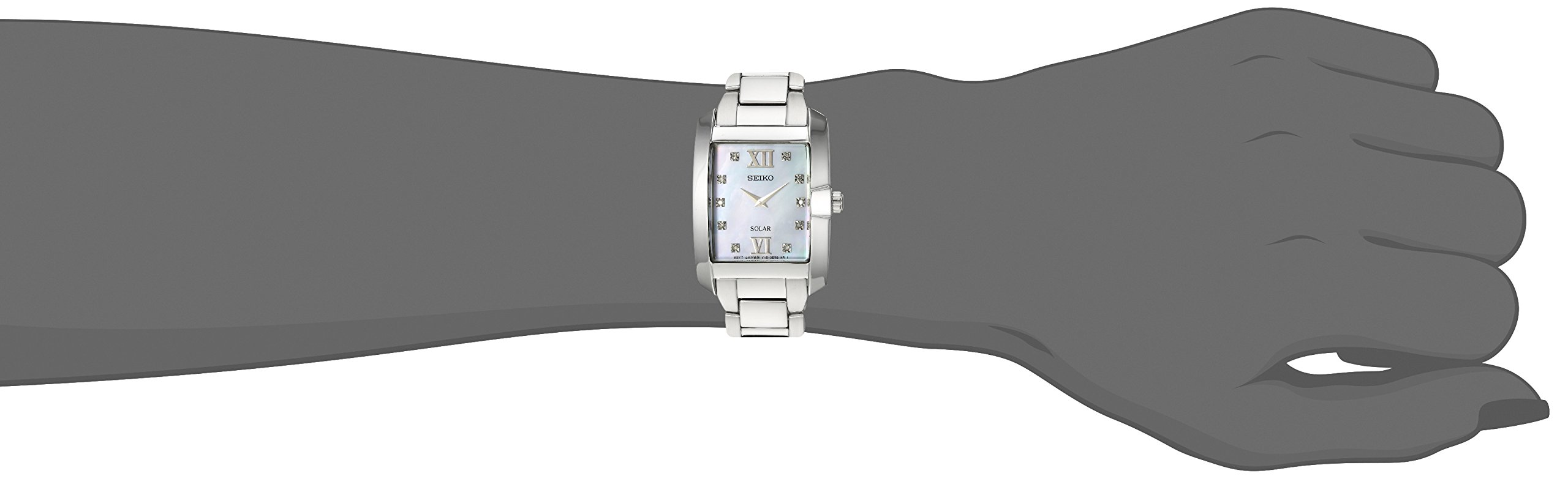 Seiko Women's 'DIAMOND SOLAR' Quartz Stainless Steel Casual Watch, Color:Silver-Toned (Model: SUP377) by Seiko (Image #2)