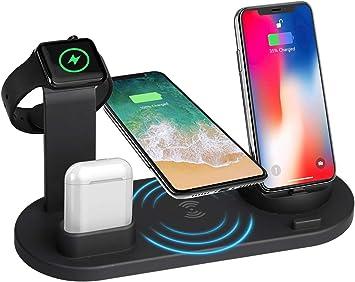 KOOPAO Soporte de Carga inalámbrico Iwatch, estación de Cargador rápido Soporte para Bases de Carga 4 en 1 Compatible con iPhone X 8 Plus XS MAX XR