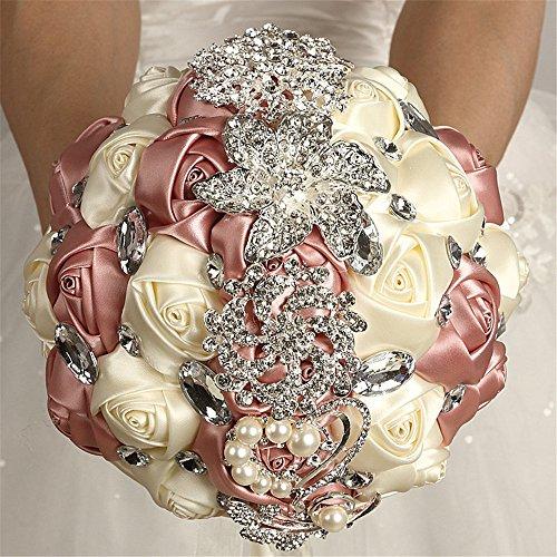 - FYSTORE Bride Bouquet Crystal Wedding Rhinestone Brooch Bouquets Brides Hand Holding (Ivory+Rose Gold)