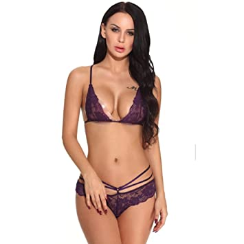 a59c70218d9be5 Amazon.com  Hot Sale!!ZYooh Women Delicate Lace Bralette and Thong Lingerie  Set Christmas Gift (Purple