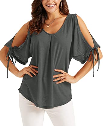 Ladies Cold Off Shoulder Tops T Shirt V Neck Short Sleeve Hotsales Top Blouse SW