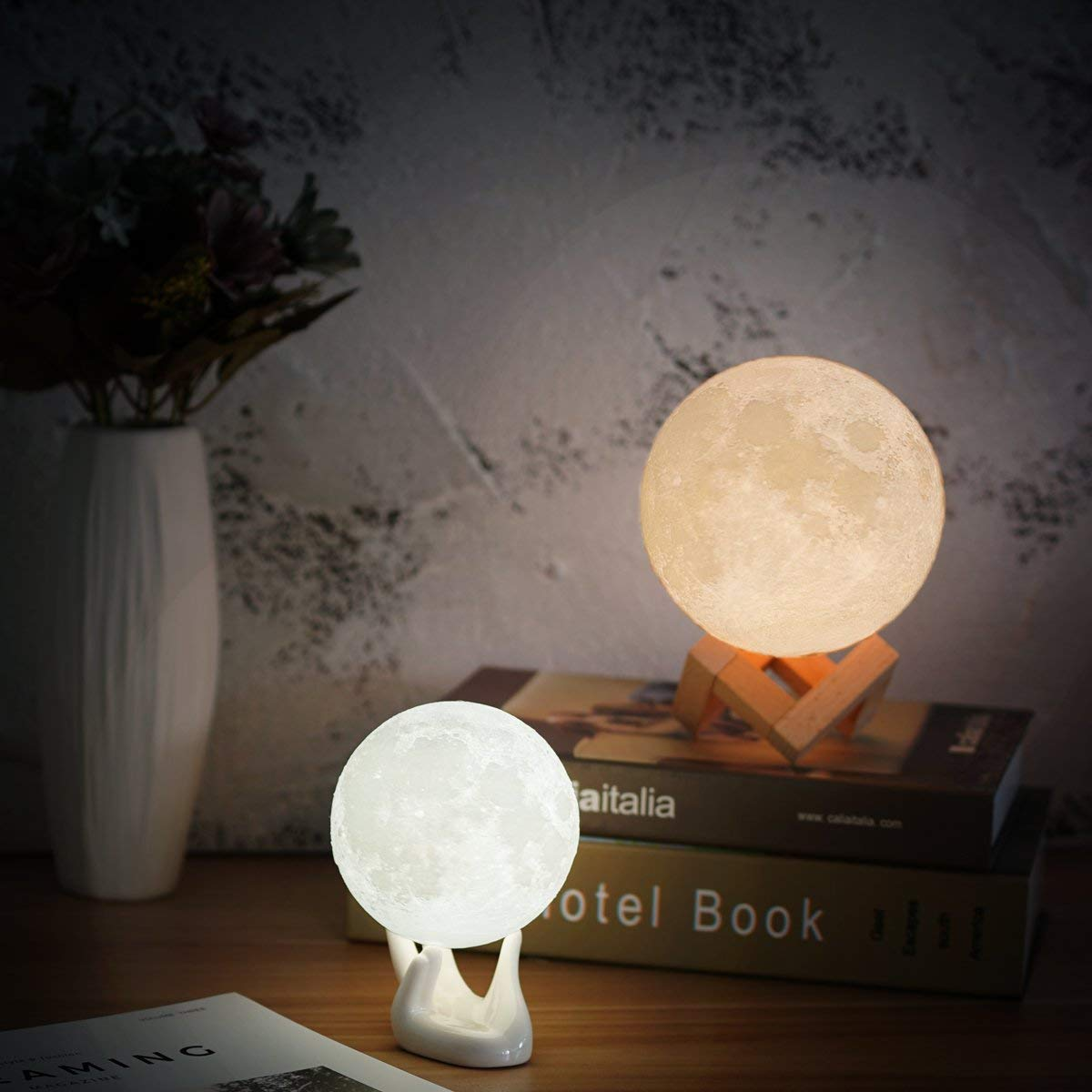 Balkwan Moon Lamp 3D Printing 5.9 inches Moon Light Dimmable with Touch Control Rechargeable Lunar Light Home Decorative Night Light Birthday Gifts for Women for Kids Gift for Romantic Gift