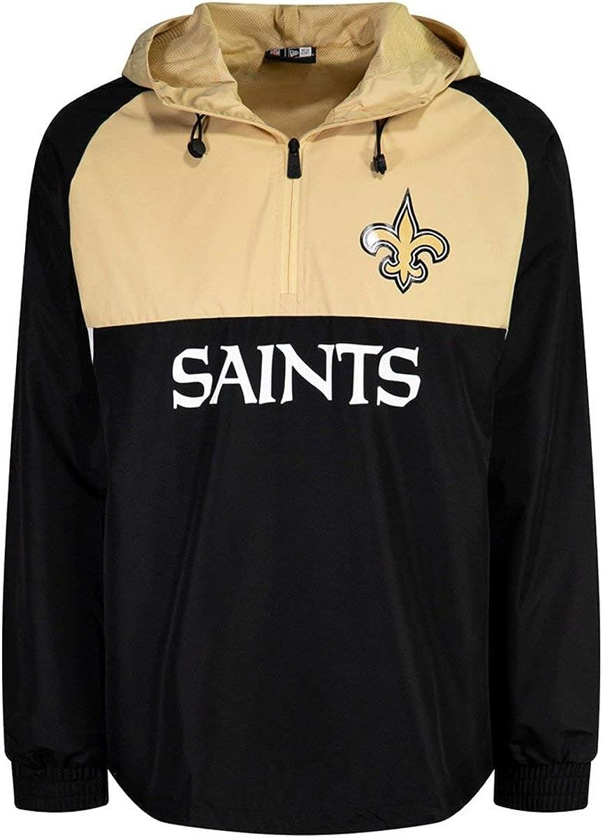 New Era Orleans Saints NFL Half Zip Colour Block Windbreaker Black ...