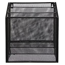 Wall Mounted Black Metal Wire Mesh 3 Tier Hanging Magazine Rack / Desktop File Organizer Storage Holder