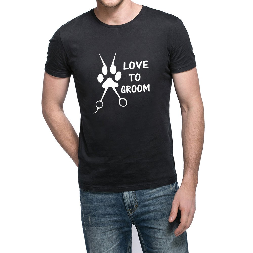 Loo Show Love To Groom Dog Grooming Scissors Casual T Shirts Tee