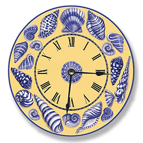 Yellow with Blue Shells Decorative Vanity - lovely yellow Wall Clocks