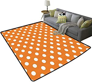 Polka Dots Home Decor Collection Indoor Rug Classic Old Fashioned Polka Dots Continuous in Spacing and Shape 20s Design Kids Floor mats Orange White, 3'x 5'(90x150cm)