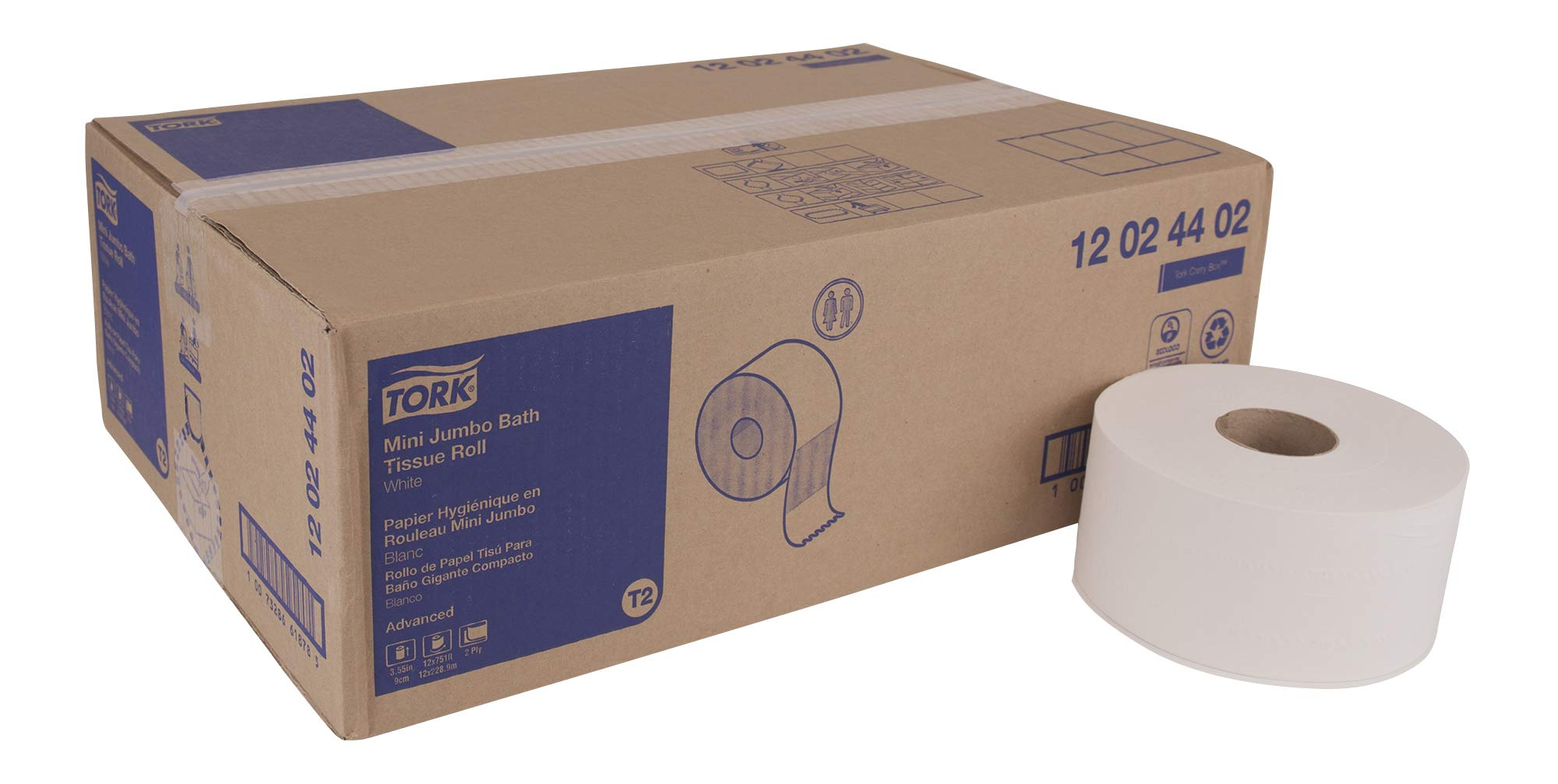 Tork Advanced 12024402 Mini Jumbo Bath Tissue Roll, 2-Ply, 7.36