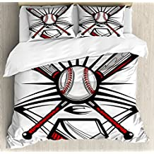 Lunarable Boy's Room Duvet Cover Set Queen Size, Crossed Bats with Ball Illustration Emblem Symbol Design with Sports Icons, Decorative 3 Piece Bedding Set with 2 Pillow Shams, Ruby Grey Black