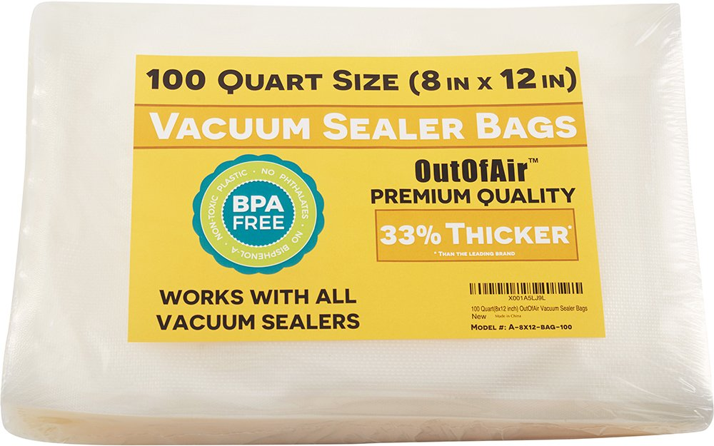 100 Vacuum Sealer Bags: Quart Size (8'' x 12'') for Foodsaver 33% Thicker, BPA Free, FDA Approved