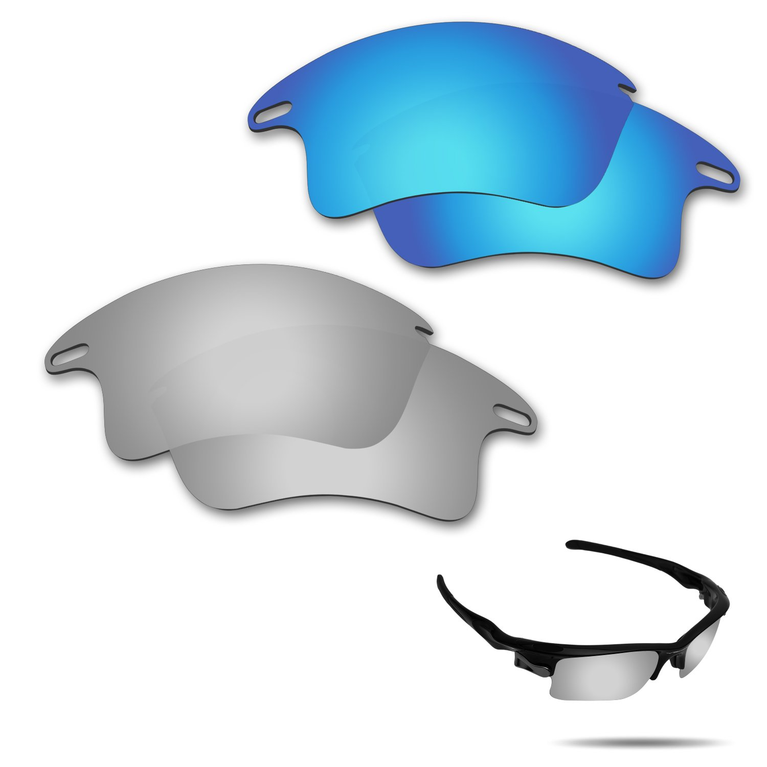 Fiskr Anti-Saltwater Polarized Replacement Lenses for Oakley Fast Jacket XL Sunglasses 2 Pairs Packed