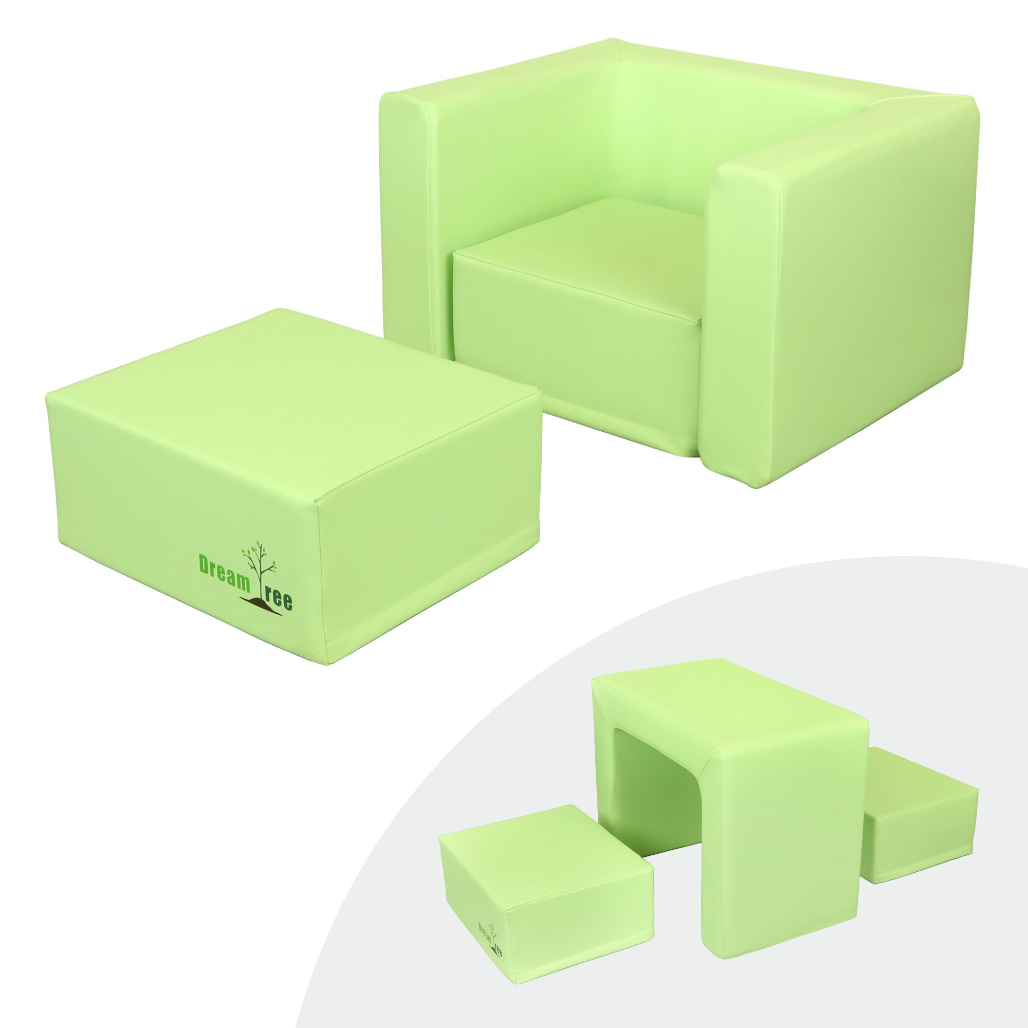 Dream Tree Toddler Table and Chair Set (Stool Type) Washable, Safe Non-Toxic CPSIA Compliant Soft Foam Furniture for Baby, Kids, and Child - Green