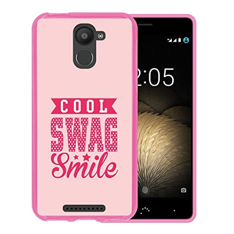 WoowCase Funda Bq Aquaris U Plus, [Bq Aquaris U Plus ] Funda Silicona Gel Flexible Cool Swag Smile, Carcasa Case TPU Silicona - Rosa