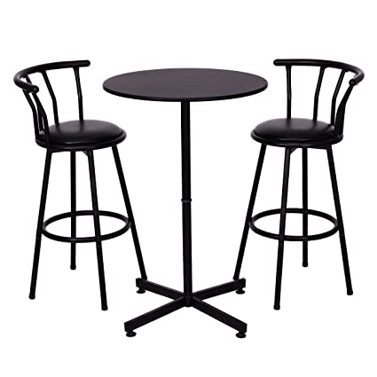Amazon Com Costway 3 Piece Bar Table Set Dining Furniture Black