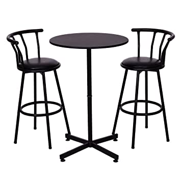 Attrayant Costway 3 Piece Bar Table Set With 2 Stools Bistro Pub Kitchen Dining  Furniture Black