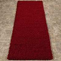 Ottomanson Soft Cozy Color Solid Shag Runner Rug Contemporary Hallway and Kitchen Shag Runner Rug, Red, 27L X 80W