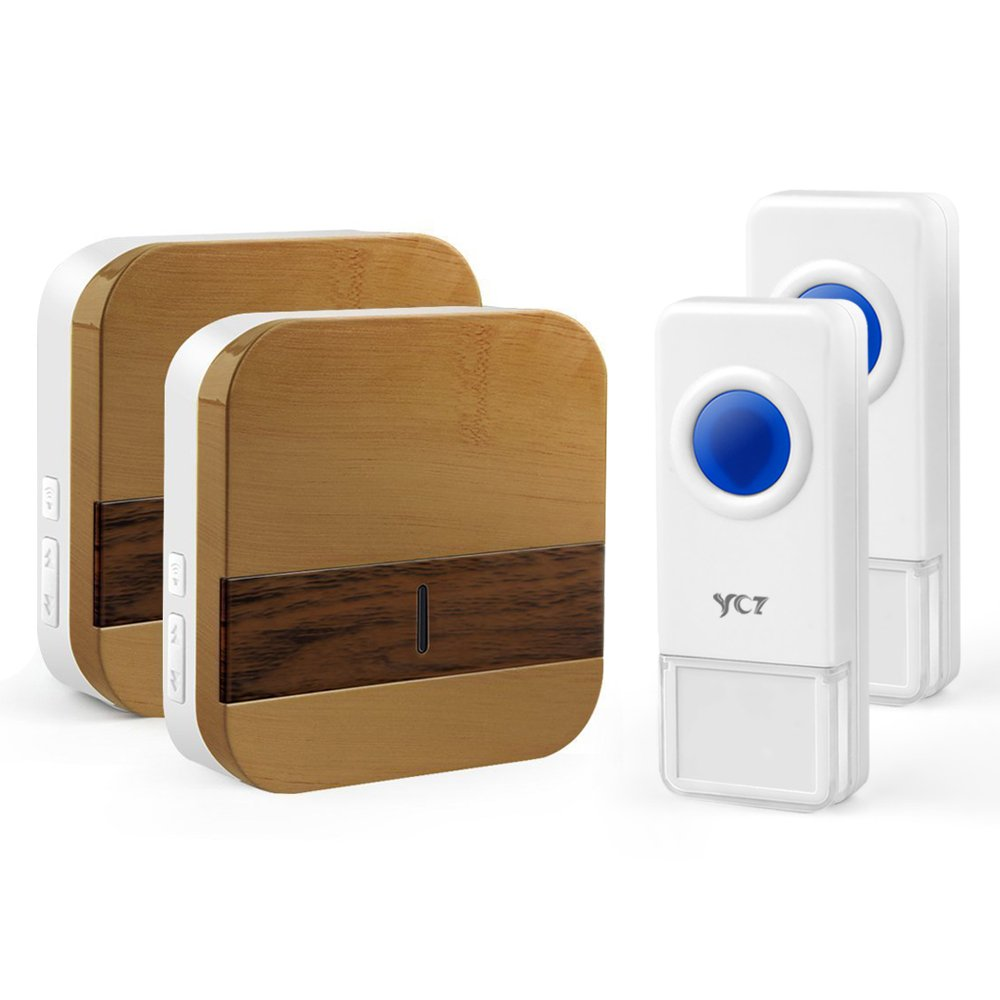 YCZ Wireless Doorbell Chime Wood Receiver Waterproof Push Button Remote Operating Range at Over 1000 ft with 52 Chimes with LED Indicator for Home Office Store and More (2 push button+2 receiver)