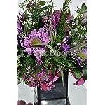 Wild-Flower-Floral-Table-Arrangement-w-Purple-Scabiosa-Hydrangea-and-Freesia