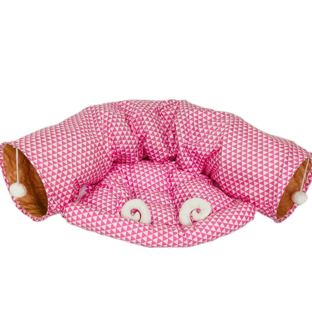 4 Pet Tunnel,Foldable Short Plush Cat Tunnel Tubes,Cat Nest Toy with Mat 72  52CM,4