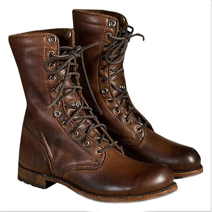 DAN Botas Para Hombre Moda De OtoñO E Invierno Botas Para Hombre Zapatos Moto Botas De Caballero Cuero,Brown-48: Amazon.es: Ropa y accesorios