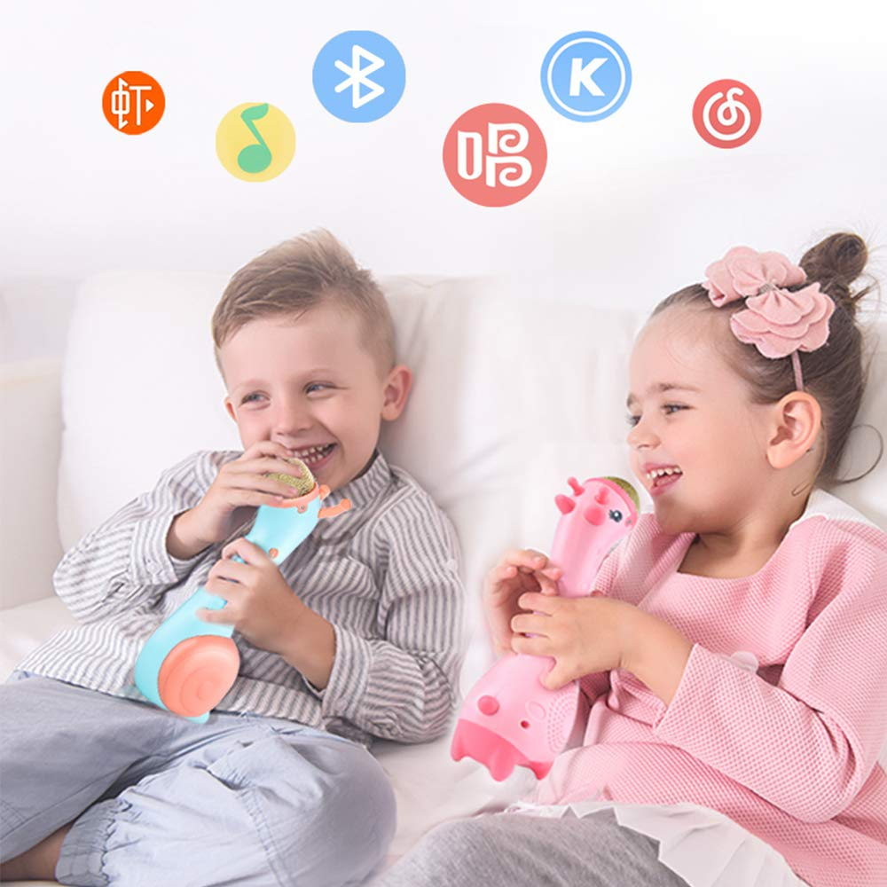 Luckstar Kids Magic Microphone Wireless Karaoke with Bluetooth Speakers Changing Enfant Cartoon Music Microphone Wireless Bluetooth KTV Speaker Toy Gift (Pink) by Luckstar (Image #7)