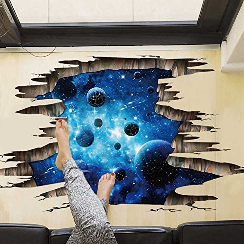 3d Blue Galaxy Wall Stickers Universe Scene With Planets