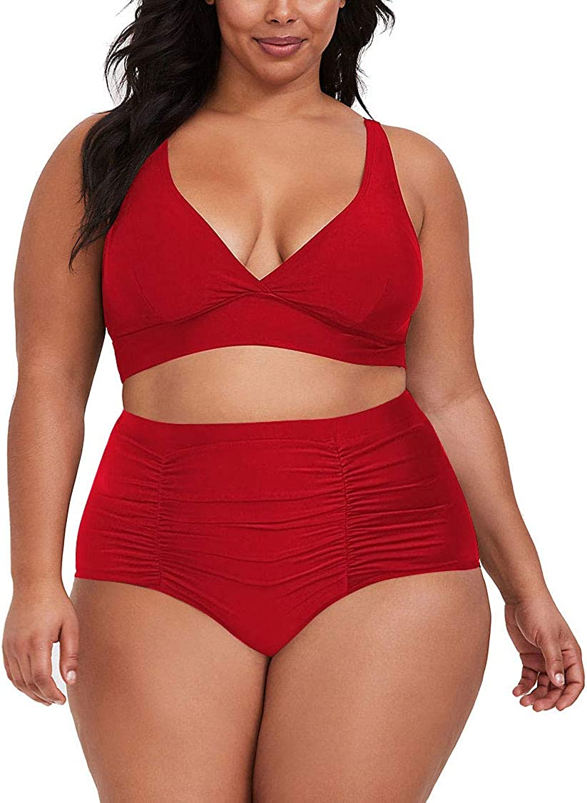 Sovoyontee Womens 2 Piece Plus Size High Waisted Swimsuit Bathing Suit