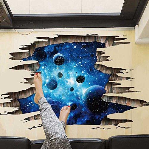 Galaxy Planet Space 3D Wall Sticker Children Bedroom Celling Floor Art Decal
