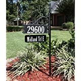 "Boardwalk Double Sided Super Reflective Address Sign 48"" with Personalized Nameplate, USA Made, Great Gift . Highly Visible Day/Night."