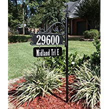 """USA Handcrafted Boardwalk Double Sided Super Reflective Yard Address Sign 48"""" with Personalized Name Rider Plaque, Highly Visible Day/Night"""