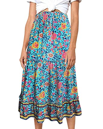 2b5bbfd5705c Geckatte Womens Bohemian Floral Printed Skirts Casual Elastic Waist A Line  Flowy Long Midi Skirt Green