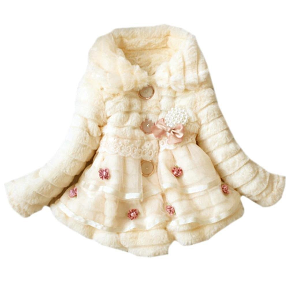 Jingjing1 Faux Fur Coat Kids Girls Cute Lapel Flower Printed Fleece Lined Winter Warm Outwear Jacket
