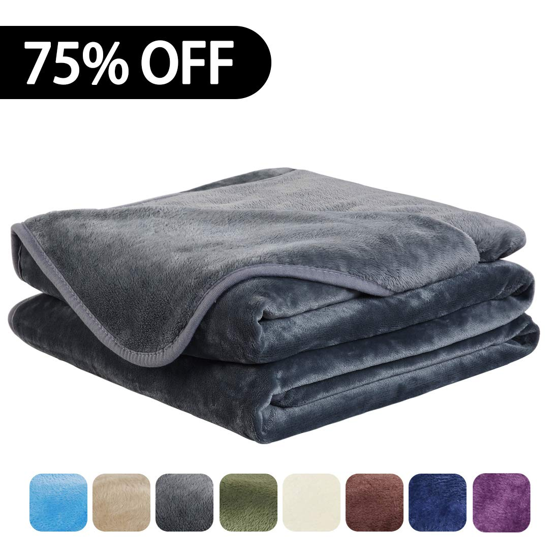 EASELAND Soft Queen Size Summer Blanket All Season Warm Fuzzy Microplush Lightweight Thermal Fleece Blankets for Couch Bed Sofa,90x90 Inches,Dark Gray
