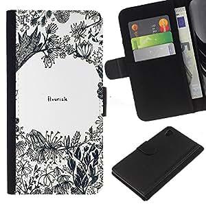 Flores Cita inspirada del arte- la tarjeta de Crédito Slots PU Funda de cuero Monedero caso cubierta de piel Para Sony Xperia Z3 Plus / Z3+ / Sony E6553 (Not Z3)