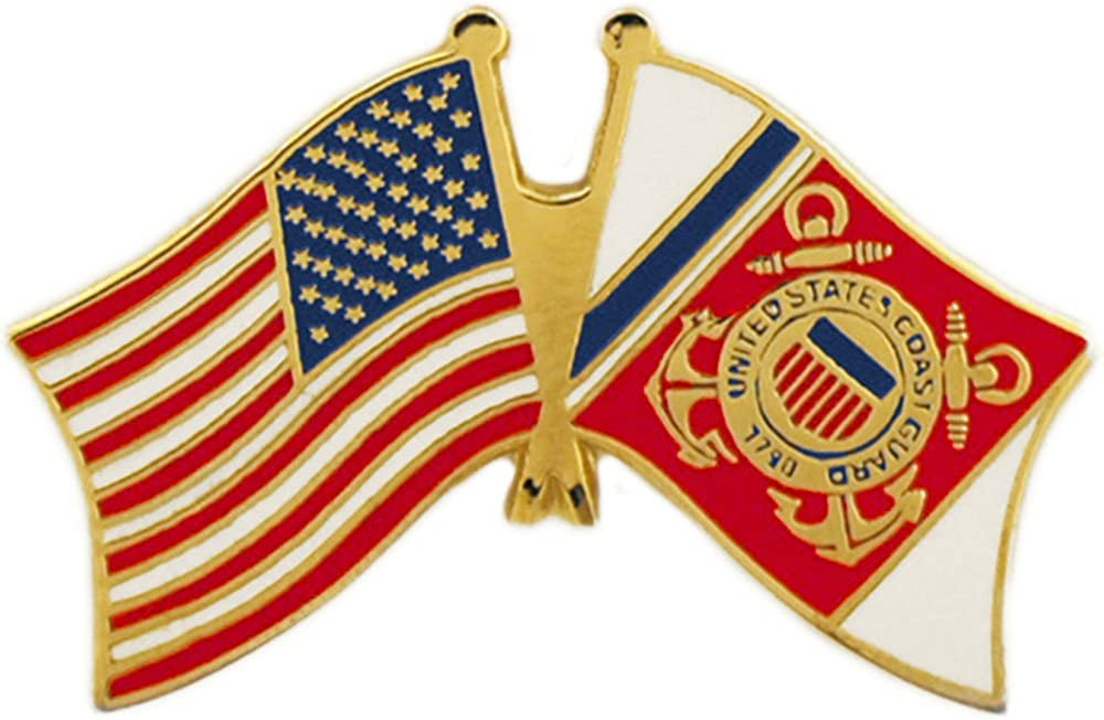 EE, Inc. United States and Coast Guard Flag Pin Military Collectibles for Men Women