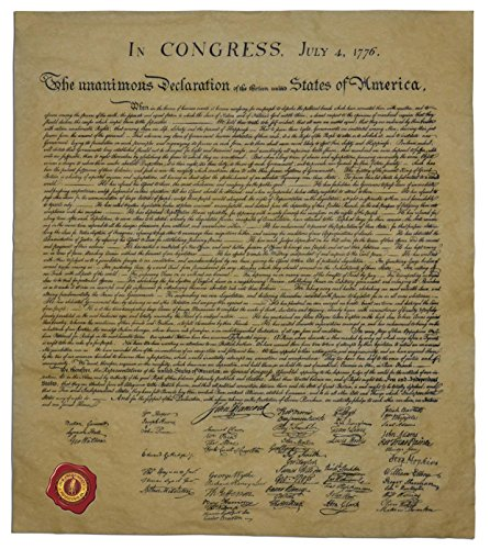 The Declaration of Independence, Authentic Replica Printed on Antiqued Genuine Parchment. 14 X 16