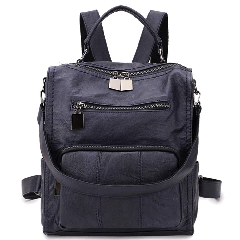 RAVUO Women Backpack Purse, Faux Leather Small Shoulder Bag Mini Backpack for Ladies Three Ways to Carry Darkblue