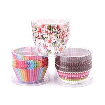 Yishishi Fundas para Cupcakes Fundas para Hornear Muffin Cajas de Papel Taza para Hornear para cumpleaños