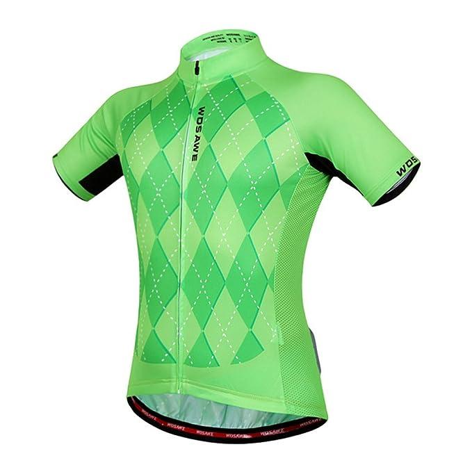 Amazon.com: Wosawe Ciclismo jerseys Verde Camisas de los ...