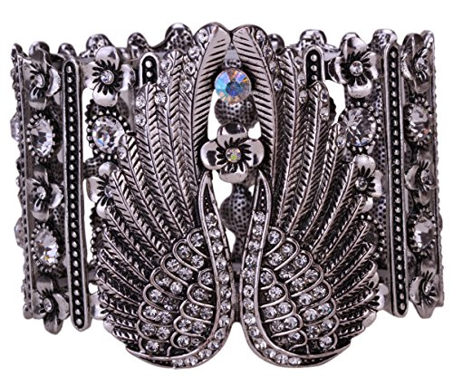 YACQ Women's Guardian Angel Wings Stretch Cuff Bracelets Biker Costume Jewelry Accessories