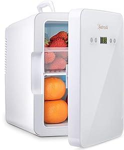 AstroAI Mini Fridge Refrigerador para el Cuidado de la Piel de 6 litros / 8 latas con Control de Temperatura Enfriador Termoeléctrico Portátil AC / 12V DC y Calentador para Dormitorio Cosméticos Medicamentos Leche Materna (BLANCO)