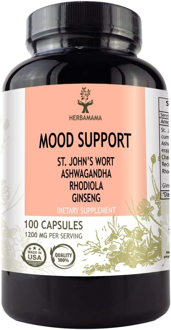 Mood Support 100 Capsules 1200 mg Anxiety and Stress Relief Promotes Healthy Nervous System Mood Booster Filled with St. John s Wort, Ashwagandha, Rhodiola, Ginseng Chamomile Non-GMO