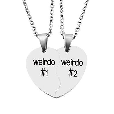 64b91d6c41 MJartoria Best Friend Necklaces Split Valentine Heart Weirdo 1 2 Best  Friends Pendant Friendship BFF Necklace