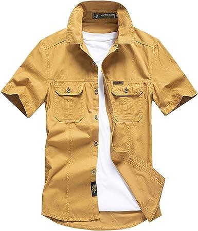 Verano Formal Hombres De un Solo Pecho Camisas el Manga Corta con Clásico del Ejército Estilo, Hombre Cargo Camisa Casual de Estilo Militar Chaqueta Leñador de Manga Corta 100% Algodón: Amazon.es: Ropa