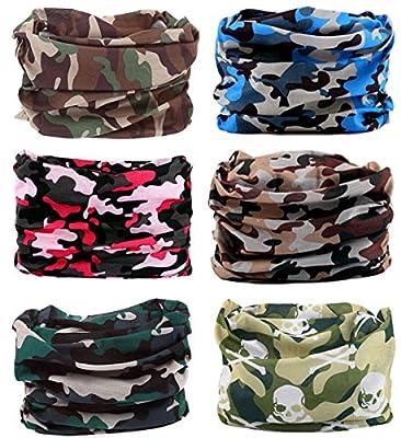 Kingree 9PCS&6PCS Solid Color Magic Scarf, Seamless Bandanas Tube, High Elastic Headband with UV Resistance